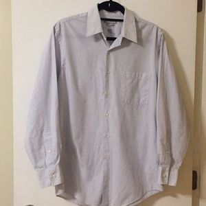 Men's Van Heusen White and Blue Dress Shirt